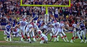 Super Bowl XXV was one of the best in history.  It was a very close game with the New York Giants simply holding on to ball all game and keeping the Bills offense off the field.  Even with that, the game came down to one play.  A field goal attempt by Bills kicker – Scott Norwood, - WIDE RIGHT