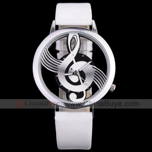 Chinabuye.com---Novelty Musical Note Dial Quartz Movement Watch with PU Leather-White and silvery