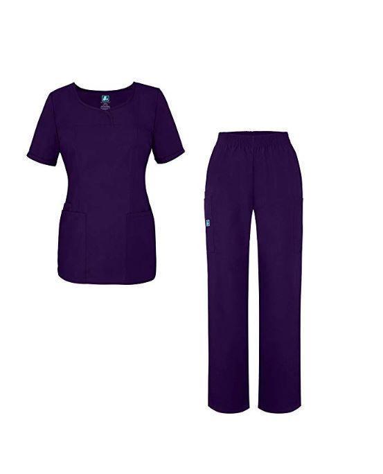 2bd18bd18be eBay #Sponsored Adar Universal Women's Scrub Set V-Neck Scrub Top Elastic  Waist Pants Purple 3X