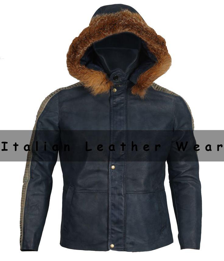 Mens Genuine Sheep Leather Jacket removable Fur hooded winter jacket Sale