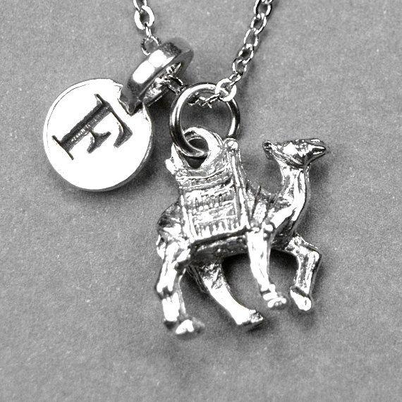 Camel necklace, camel charm, personalized jewelry, initial necklace, initial charm, initial jewelry, monogrammed necklace, letter necklace by chrysdesignsjewelry on Etsy