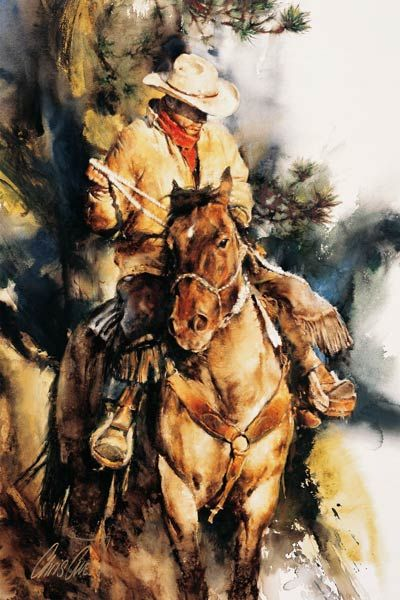 A-Cowboy's-Morning,-gouache,  ~Chris Owen