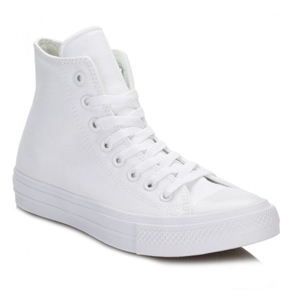 Converse All Star Chuck Taylor II White Hi Top Trainers ($52) ❤ liked on Polyvore featuring shoes, sneakers, white sneakers, lightweight sneakers, hi tops, white high tops and converse trainers