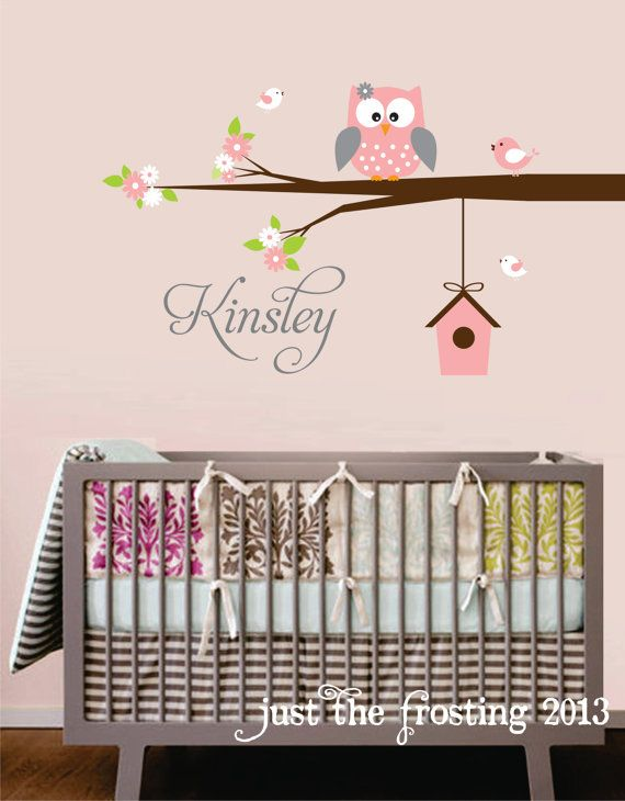 Personalized Name Owl Wall Decal With Birds  by JustTheFrosting, $45.00