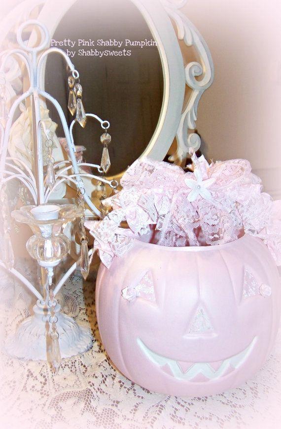 Shabby Chic Pink Pumpkin Rose Fall Halloween Decor Pale