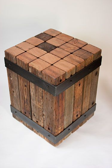 Salvage wood end table