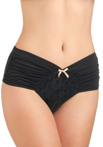 Just as Sweet Undies in Noir - Black, Tan / Cream, Solid, Bows, Lace, Ruching, Pinup, Vintage Inspired, Variation