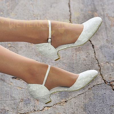 Ladies Wedding Bridal Low Heel Ivory Floral Lace Ankle strap Court Shoes 30524