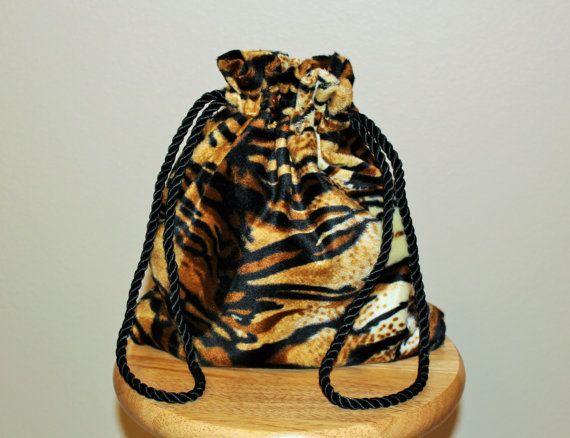 Tiger print drawstring hand bag Tiger print by SpoiledFelinesArt