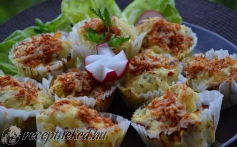 Sonkás karfiol muffin recept fotóval
