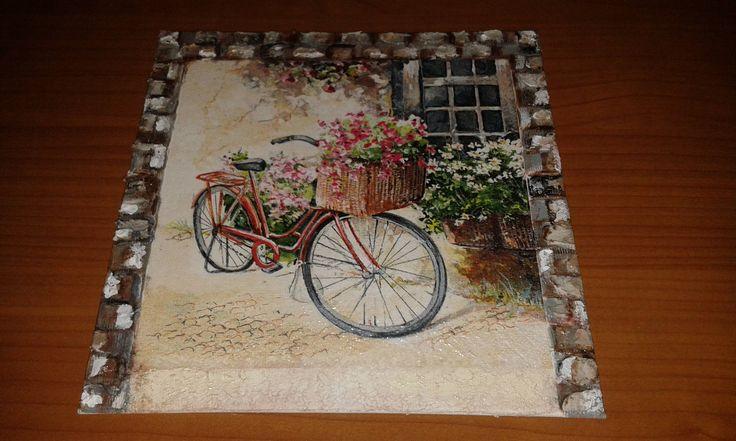 Quadretto tela decoupage bicicletta fiorita di DanidecoupageStore su Etsy