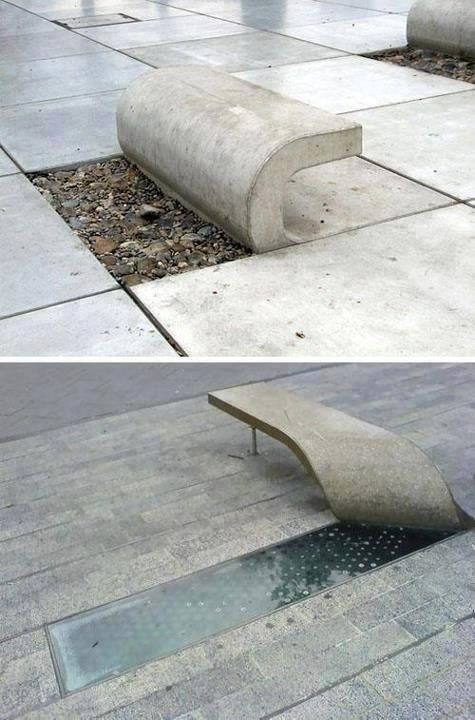 Bancs béton pelées (Le second est en dehors de la Laing Art Gallery à Newcastle, Tyne, Angleterre.) - Peeled Concrete Benches (The second is outside the Laing Art Gallery in Newcastle, Tyne, England.)