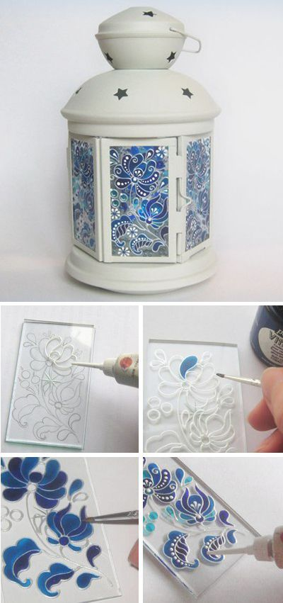 DIY : How to make stained glass lamp decor. Click on image to see step-by-step tutorial