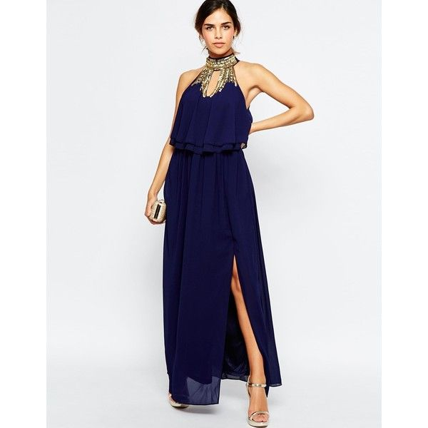 TFNC Embellished High Neck Tierred Maxi Dress (160 AUD) ❤ liked on Polyvore featuring dresses, gowns, navy, navy blue gown, white ruffle dress, navy blue evening gown, navy blue dress and tall maxi dresses