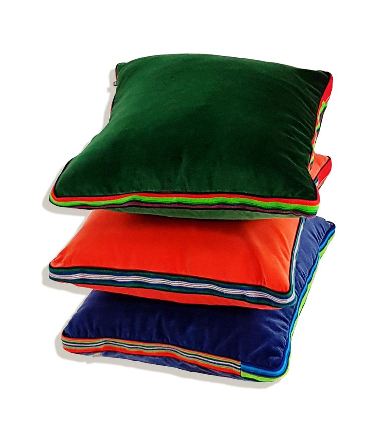 Velvet pillows with addition of regional hand woven fabric by Folka