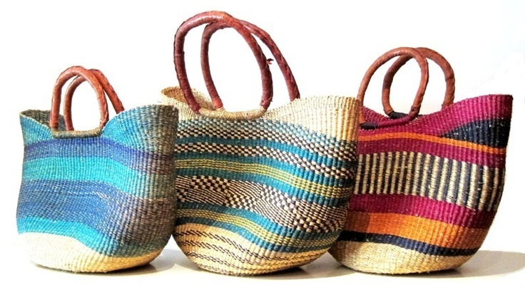 Fabulous Bolga Baskets. Hand-woven from the elephant reed which grows in the rich flood plains of the White Volta.  Visit bashiri.com.au