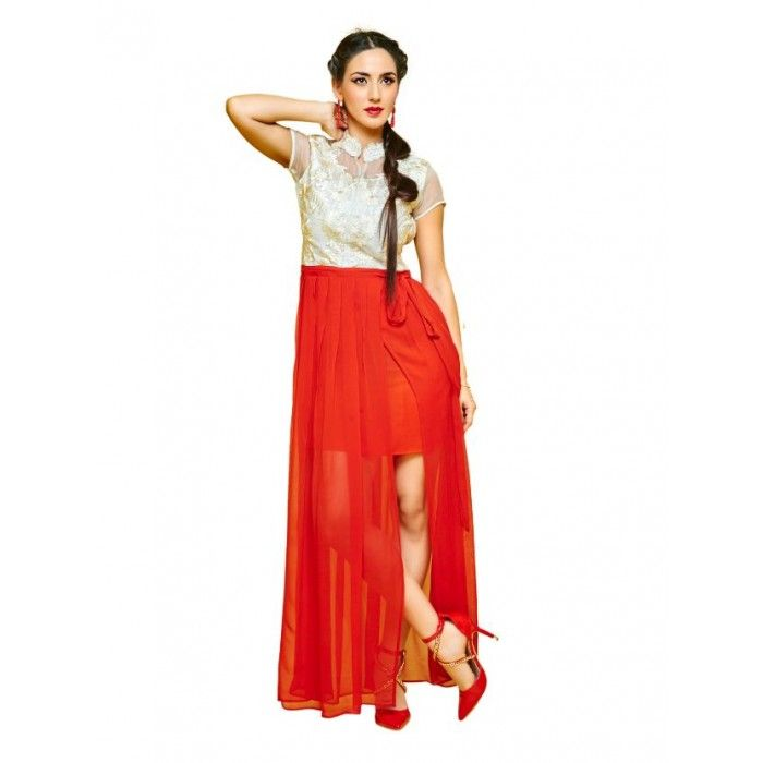 Red and Glass Tissue Georgette Kurti