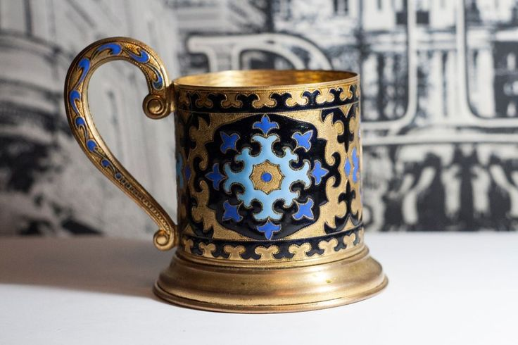 Very beautiful and rare Soviet USSR tea cup holder. Melchior, enamel, oil.