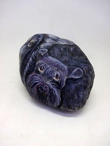 piedras pintadas - perro scottish terrier   por pedretaderiu