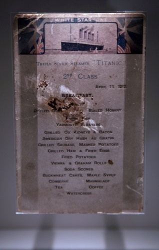 A Titanic 2nd class menu is exhibited at the SeaCity Museum's Titanic exhibition on April 3, 2012 in Southampton, England.      Twitter      0        StumbleUpon        Email    Print    Read more: http://www.nydailynews.com/news/titanic-sinking-100-years-rms-titanic-artifacts-auctioned-gallery-1.1058798#ixzz1tioQ938C