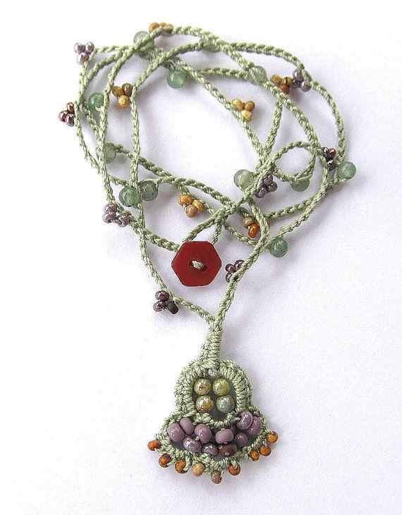 "Crochet wrap bracelet / necklace, beaded, ""Nomad"", lilac, olive, bohemian jewelry, crochet jewelry, boho necklace, spring fashion, ooak"