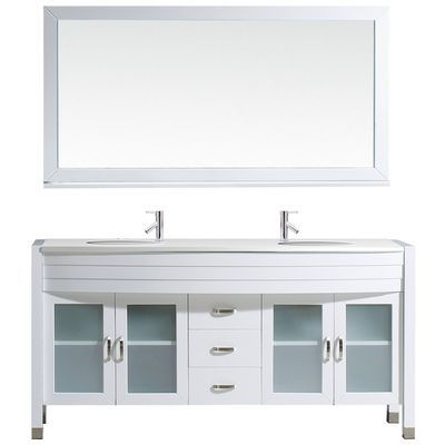 Photography Gallery Sites Virtu USA Modern Double Sink Bathroom Vanity Set White w Polished Chrome Faucet MD S WH