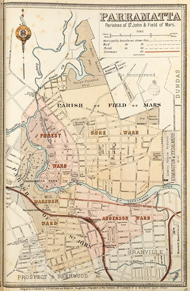 Parramatta borough map. Available to purchase as an archival print. Contact the Library Shop for details. Print number C006720035