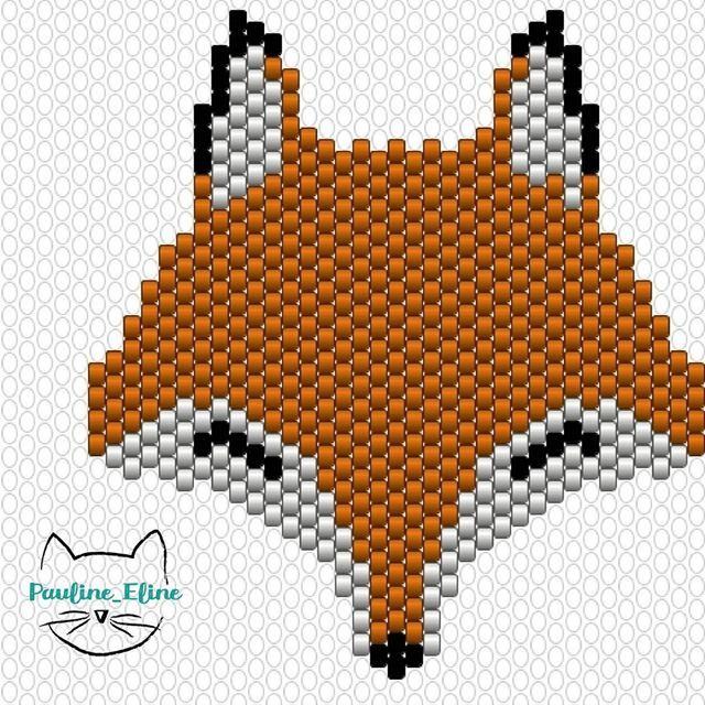 Le diagramme du renard, pour info le orange avec des reflets c'est le DB 0872. Bon dimanche ! #jenfiledesperlesetjassume #miyukibeads #miyuki #perleaddict #diagrammeperles #beadwork #beadpattern #fox #renard #brickstitch #motifpauline_eline