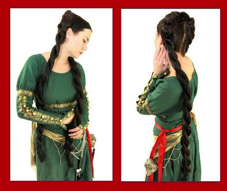 Medieval Renaissance hair Costume wig 2 Twist braid custom color hair extension hair accessories faire Viking princess reenactment wig. $136.00, via Etsy.
