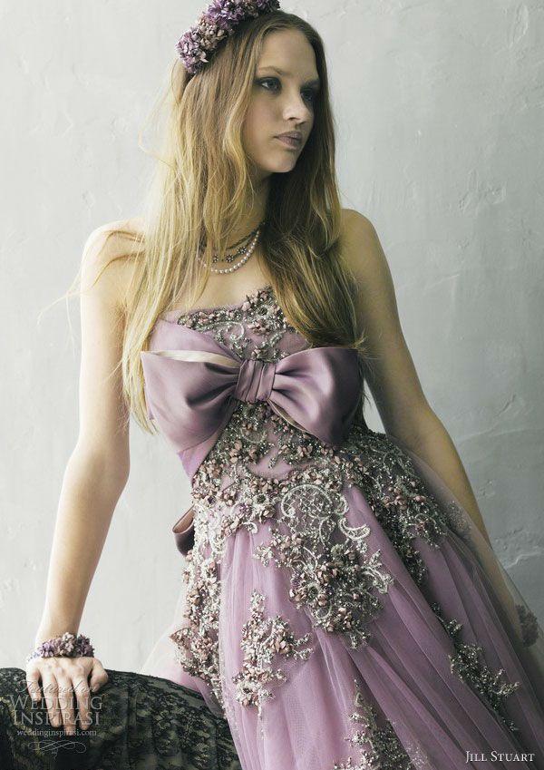 jill stuart color wedding dress 2013 purple bow