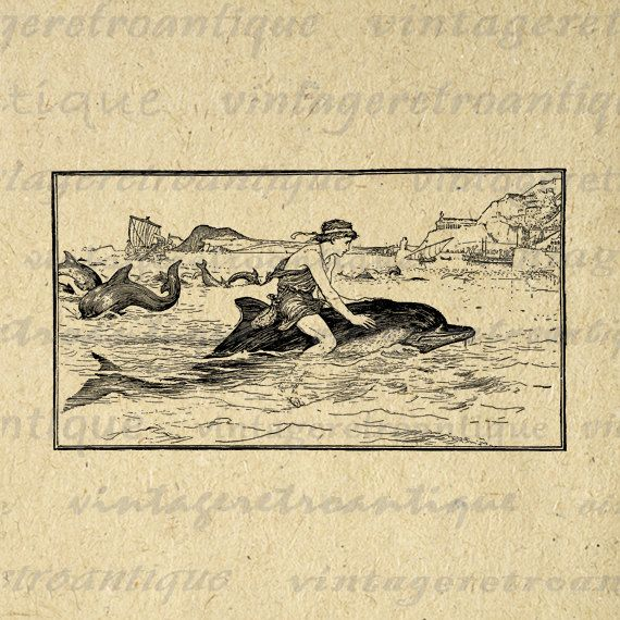 Digital Printable Boy Riding Dolphin Graphic Ocean Sea Animal Image Illustration Download. High quality digital illustration from antique artwork. This high resolution printable digital image is excellent for making prints, fabric transfers, and other great uses. This graphic is high quality, high resolution at 8½ x 11 inches. Transparent background version included with every digital image.