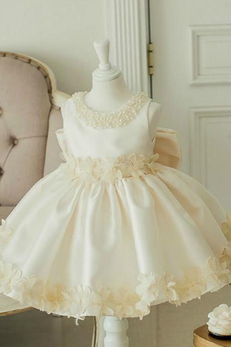 Flower Girl Dress, Champagne Flower Girl Dress, Ivory Baby Girl Party Dress, New Flower Girl Dress, Junior Bridesmaid Dress, Girl Party Dress 1-12 Years, Free Shipping Party Dress