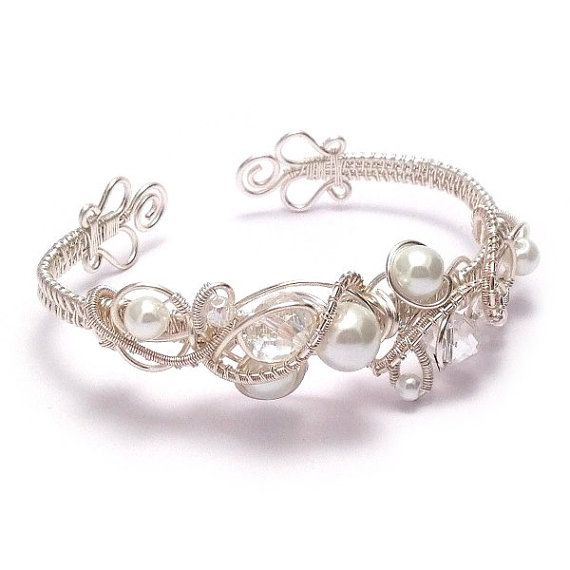 Crystal and Pearl Wire Weave Bridal Cuff Bracelet  by KianDesigns, £45.00