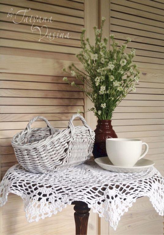 """Купить Плетеная корзиночка """"Ягодка моя"""" - корзина, корзинка, ягоды, черешня, деревенский стиль, плетение"""
