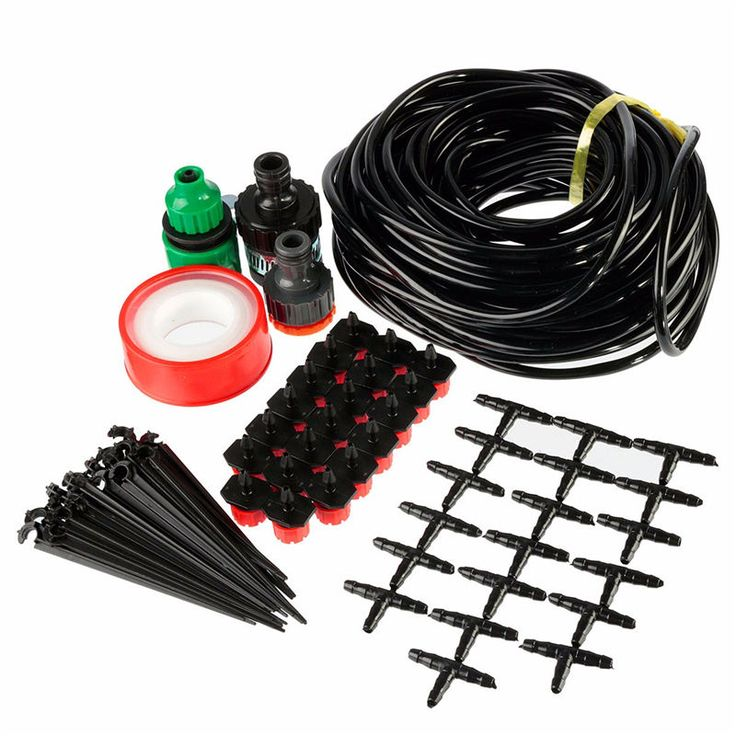 15M DIY Micro Drip Irrigation System Plant Self Watering Outdoor Garden Hose Kits with Connectors 20 Adjustable Drippers      DIY Micro Drip Irrigation System Plant Self Watering Outdoor Garden Hose Kits Features: 1.You can water all of your plants easily using this micro irrigation system. 2.This set is perfect for patio, atrium and greenhouse ...    US $13.68…