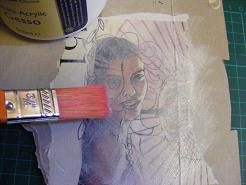 Gesso and magazine images