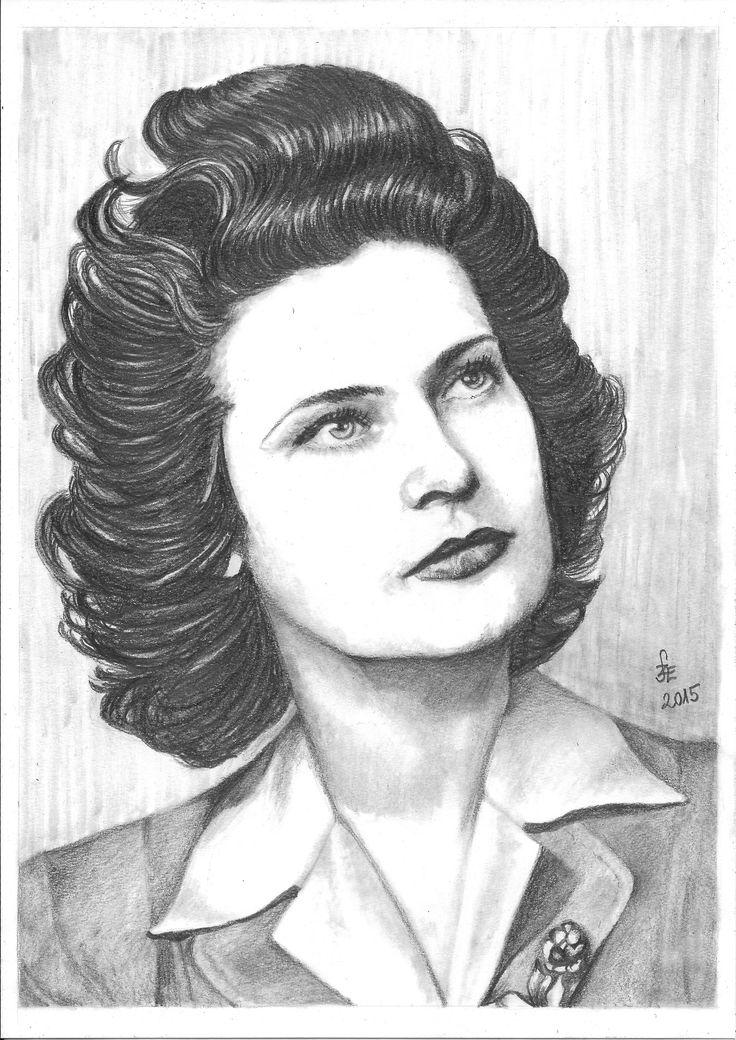 Pencil drawing portrait Karády Katalin by Erika Székesvári  https://www.facebook.com/ercziart/