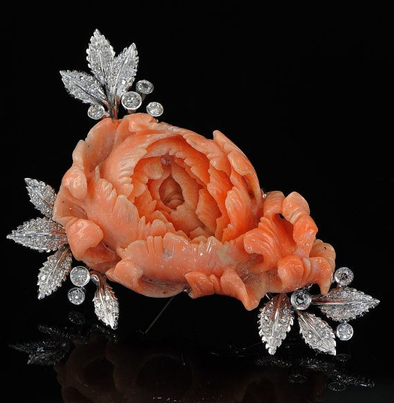 Large carved coral rose & diamond vintage brooch (can also be worn as a necklace). 1.55 Ct of old cut Diamonds 18 Kt white gold - marked. c.1960's