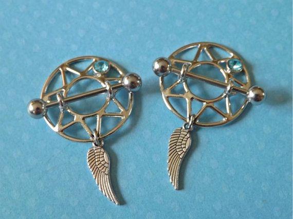 34 best nipple jewelry images on pinterest nipple rings for Angel wings nipple piercing jewelry