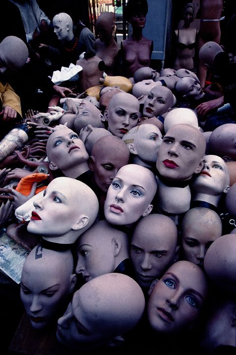Mannequin heads only as bodies got damaged (Paris Flea Market) = can you imagine being the night security guard here ? He has to use the minimal light from his low powered torch to walks round here in almost pitch black darkness, with just the faces staring back as the torch illuminates where he patrols !! -★-