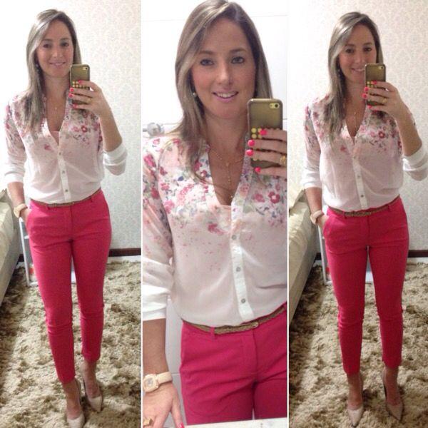 Look de trabalho - calça rosa
