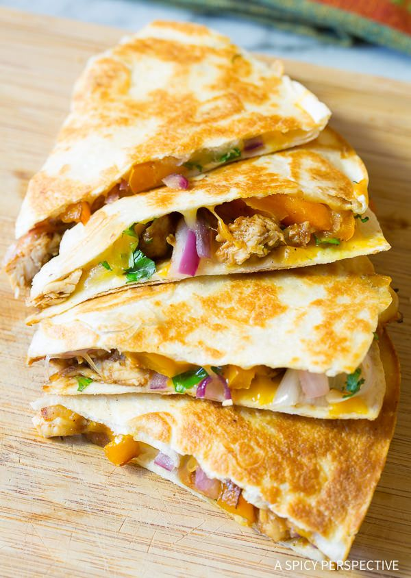 Easy 10-Ingredient Sweet and Tangy Chicken Quesadillas Recipe | ASpicyPerspective.com