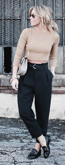 Tapered trousers & crop top roll neck