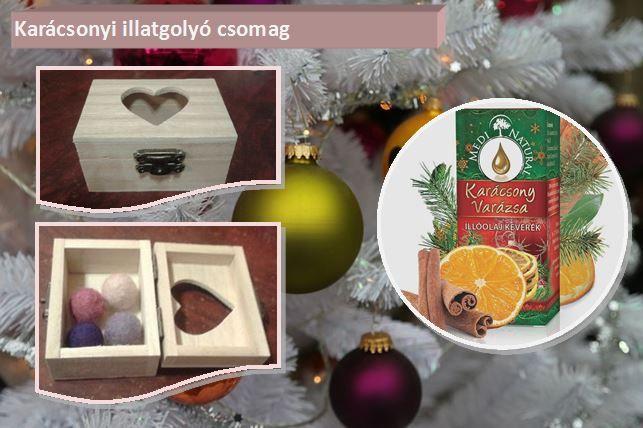 """""""Karácsonyi illatgolyó csomag"""" Szeretnék valami igazán különlegeset és egyedit mutatni Nektek. Saját tervezés és kivitelezés, és persze kipróbáltam, használtam, mielőtt megmutatom Nektek. Ezek az """"KÉZMŰVES AROMATERÁPIÁS ILLATGOLYÓK""""   A csomag tartalma: * 1 db négyszöglet alakú, tetején szívecske formájú kivágással, fa dobozka * 4 db nemez kézműves aromaterápiás illatgolyó * 1 db """"Karácsony varázsa"""" illóolaj-keverék"""