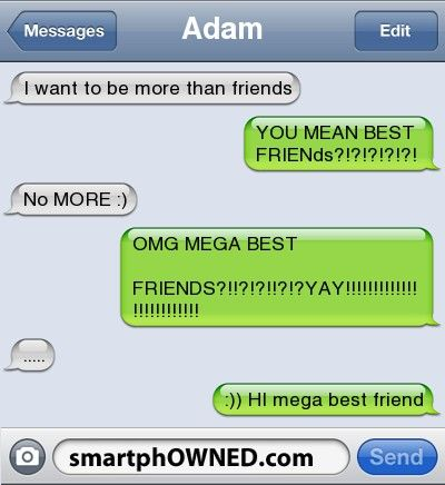 "Friend zoned LIKE A PRO :)    If a guy ever texts me this, i will reply the same way, only after saying ""hi mega best friend"" i will send another text and be like ""yes/no"". depends who it is. lol"