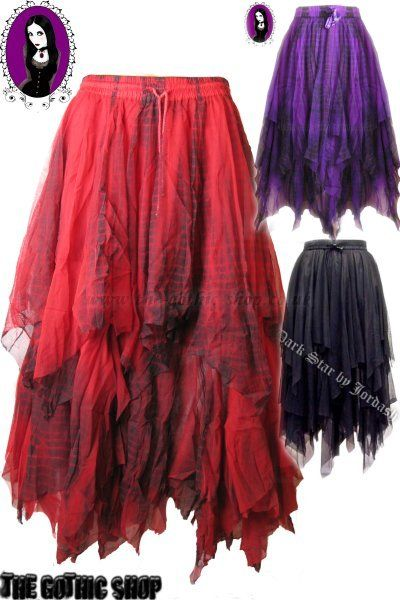 I Love it! Fine Mesh Gothic (Tie Dye) Long Skirt (Love the black & the purple - The black skirt w/ the tips at the bottom purple or read, I think it would look wicked, Any colour really..