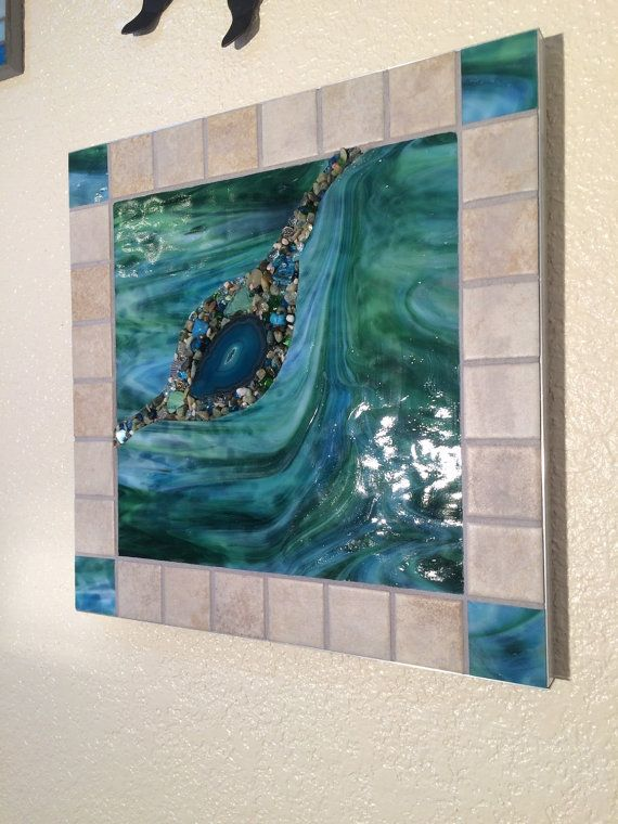 Stained Glass Wall Hanging Mosaic Abstract Art by BlueOceanGlass