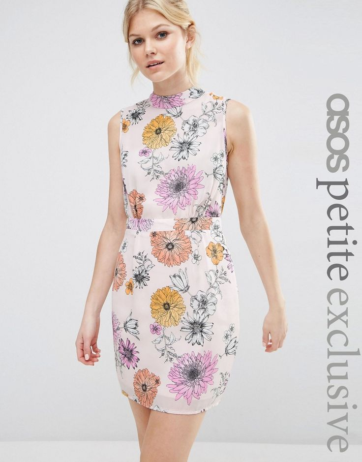 ASOS PETITE Mini Dress With High Neck In Floral