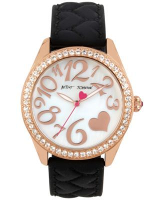 Betsey Johnson Women's Black Heart Textured Silicone Strap Watch 40mm BJ00048-172 $71.25 A radiant rose gold-tone case pairs with a unique black heart-textured silicone strap on this playful timepiece from Betsey Johnson.