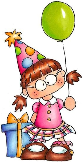 Dibujos. Clipart. Digi stamps - Birthday girl - Add number on balloon - Cumpleaños